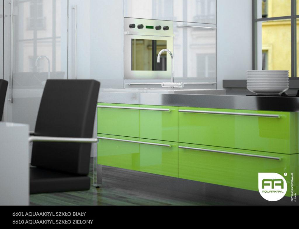 inspiracja front akrylowy aquaakryl biały szkło 6601 zielony szkło 6610